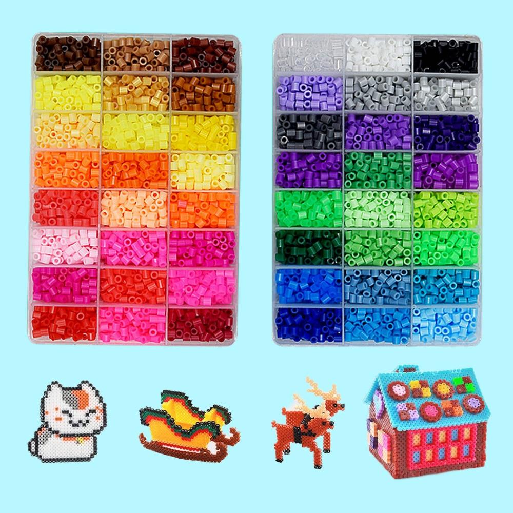 9600Pcs Funny Mini Rainbow 5mm 48 Colors Fuse Beads Craft Beading Kit Children Kids DIY Handcraft Art Educational Toys Puzzles
