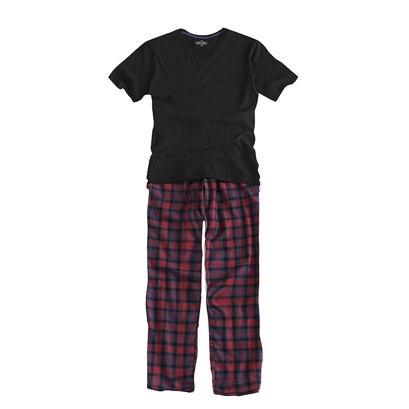 Underwear & Sleepwears 100% Cotton Mens Short-sleeved Pajama Set O-neck Black T-shirt Plaid Trousers Mens Pajamas Autumn Sleepwear Plus Size For 95kg Men's Sleep & Lounge