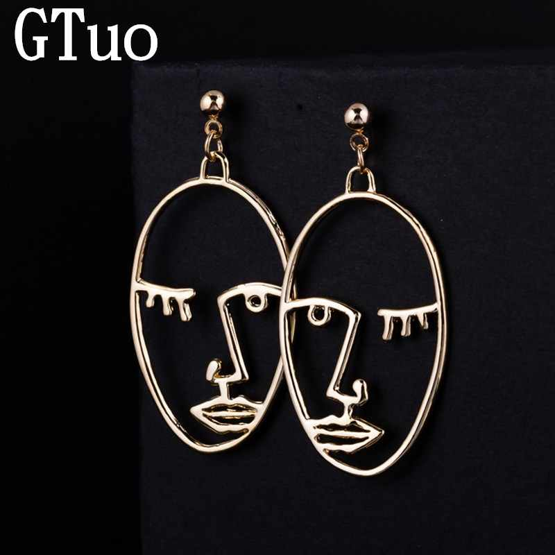 Simple Abstract Earrings for Women Gold Silver Exaggerated Face Palm Dangle Drop Earings Fashion Jewelry Korean Brincos Bijoux