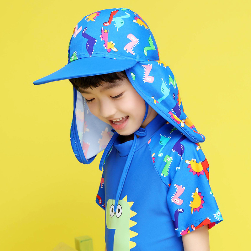 Kids Children Summer UPF 50+ UV Protection Outdoor Beach Sun Hat Neck Ear Cover Flap Cap Adjustable Kids Dinosaur Cap