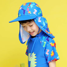 Kids Children Summer UPF 50+ UV Protection Outdoor Beach Sun Hat Neck Ear Cover Flap Cap Adjustable Kids Dinosaur Cap(China)