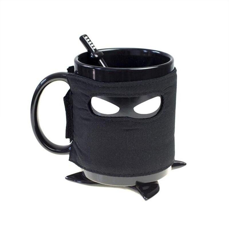 Brioso Assassinate Caffeina Maschera Nera Tazza Di Ceramica Con Il Cucchiaio Spada Caffè Latte Tazza Di Tè Creativo Giappone Ninja Tazza Tazza Né Troppo Duro Né Troppo Morbido