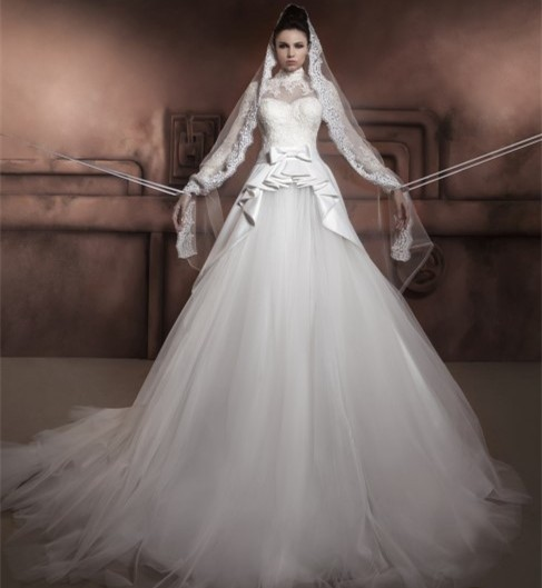 new design arabic long sleeve wedding dress 2017 vestido de noiva high neck a line chapel train tulle bridal gown