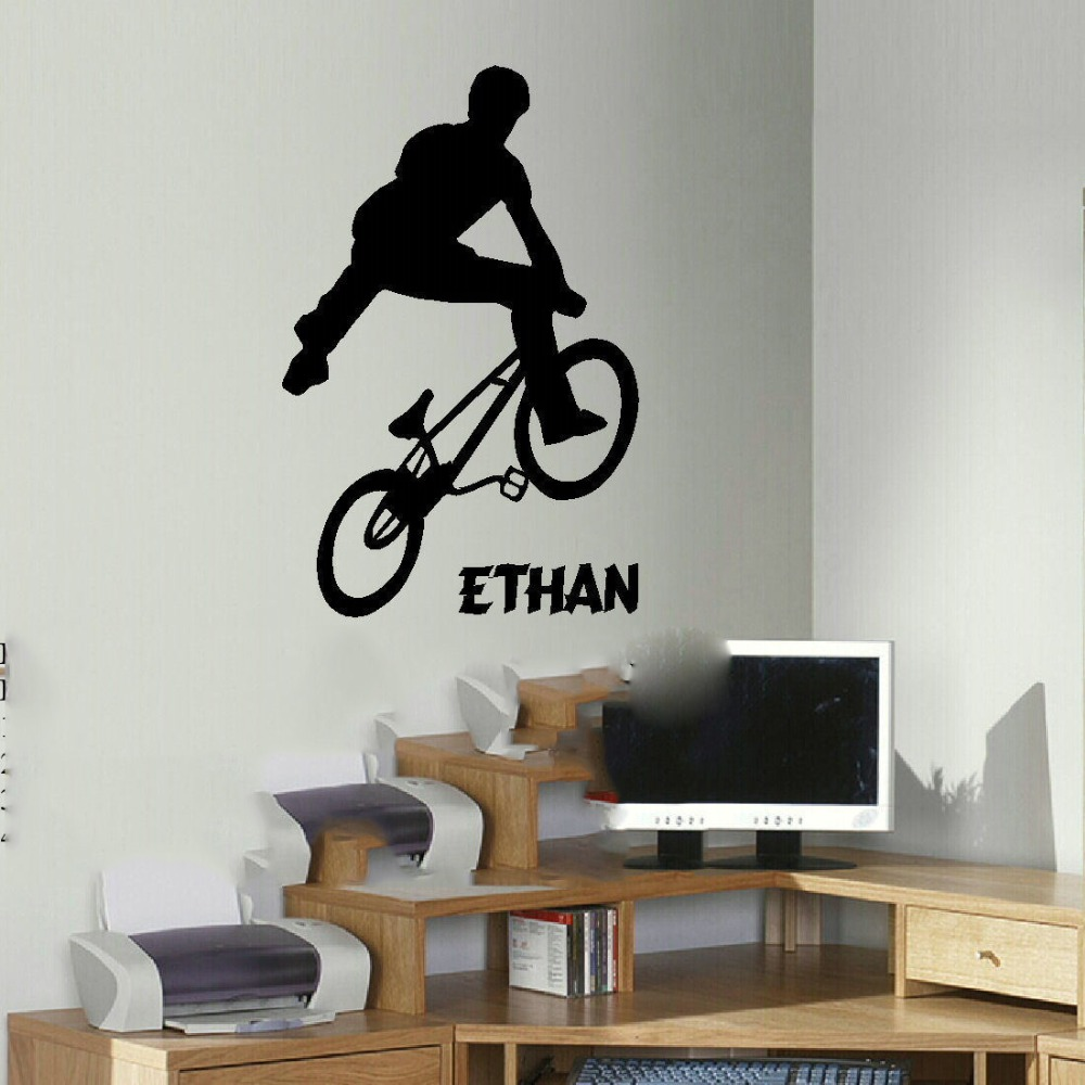 free shipping large personalised bmx trick teenage wall art bedroom