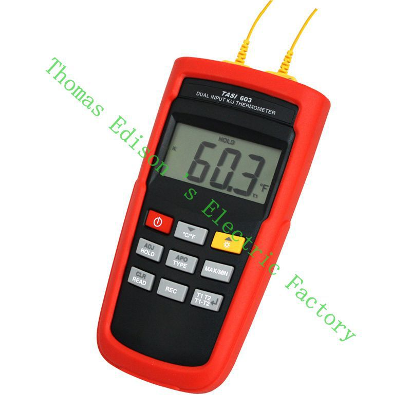 TASI-603 K-TYPE or J-TYPE Daul Channel Thermocouple Thermometer  Contact Thermometer Adjust thermocouple offset meter teansi tasi 605 k j type thermocouple