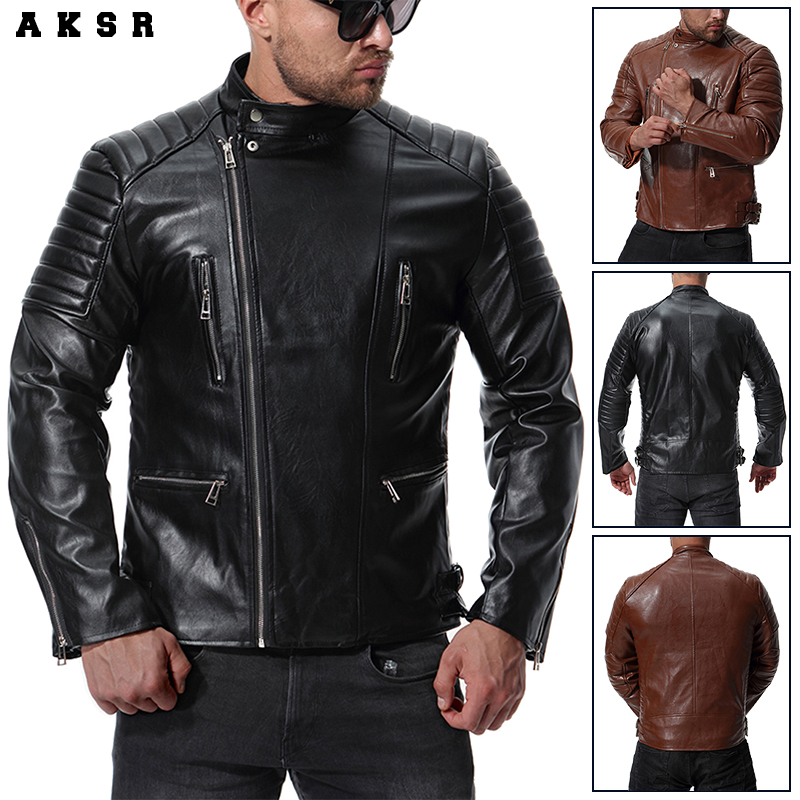 AKSR mode Faux cuir hommes vestes hiver décontracté chaud en cuir vestes pour homme marque Slim Fit PU moto vestes manteaux