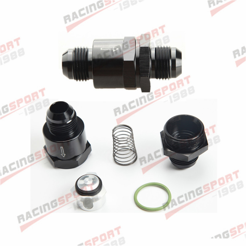 AN10 Aluminium Non Return One Way Check Valve Fuel EFI Fitting Adapter Black