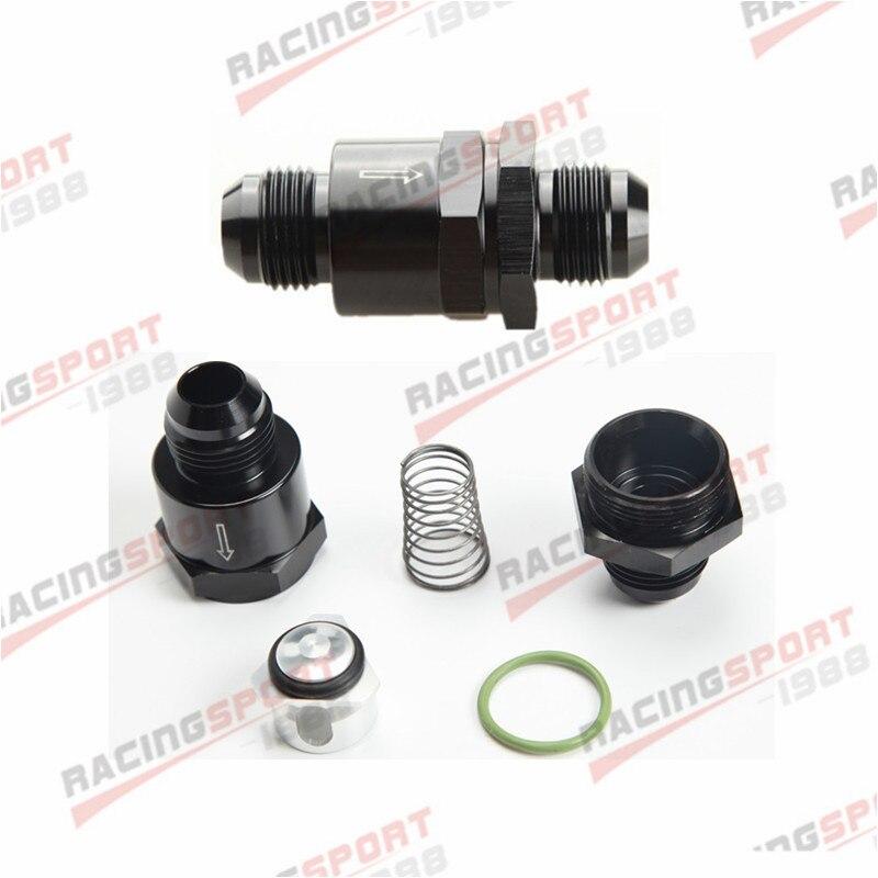 AN10 aluminio sin retorno válvula de retención unidireccional adaptador de ajuste de combustible EFI negro