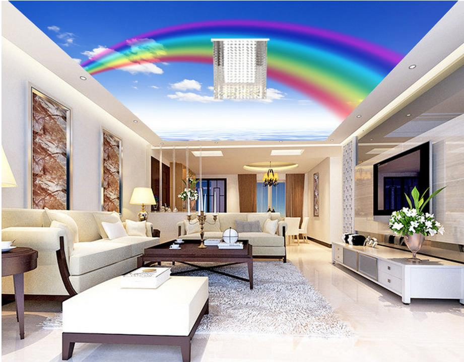 3d living room wallpaper 3d mural wallpaper rainbow sky cloud ceiling wallpapers 13280