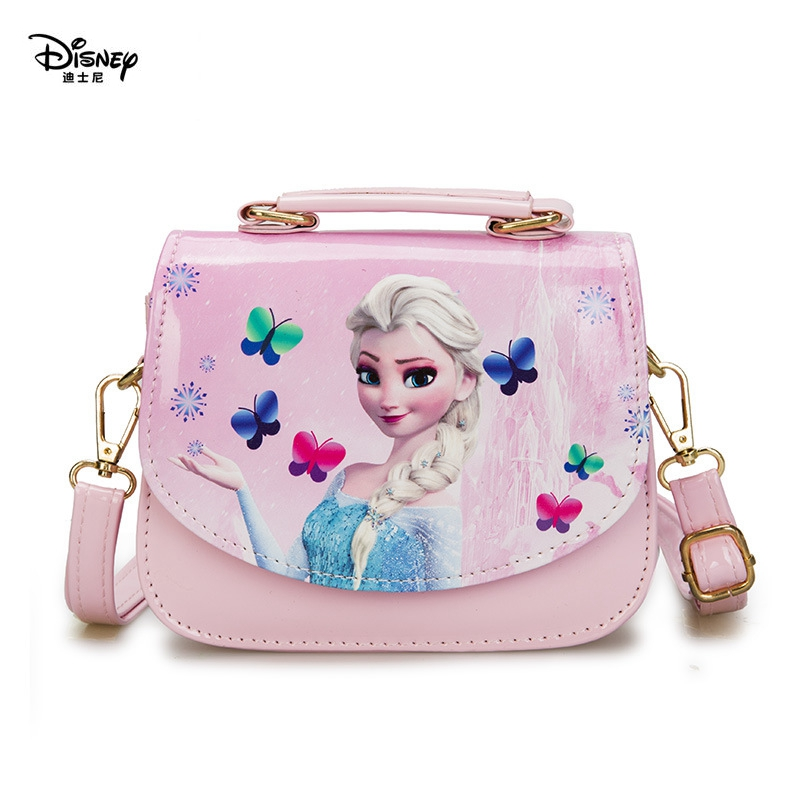 Disney Kindergarten Girl Frozen Princess Shoulder Bag PU Children Cartoon Elsa Handbags Travel Outlet Crossbody Bag