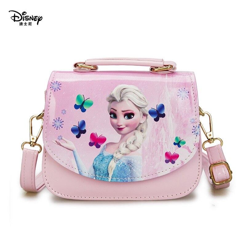 Disney jardim de infância menina congelado princesa bolsa de ombro pu crianças dos desenhos animados elsa bolsas viagem tomada crossbody saco