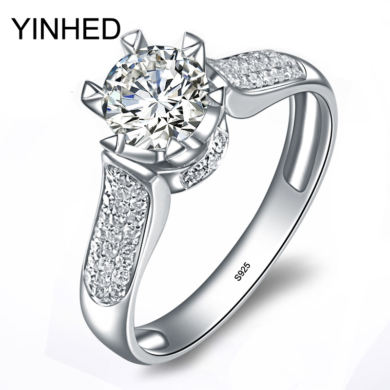 YINHED Luxury Solid Silver Wedding Rings for Women 1 5 Carat Cubic Zirconia CZ Diamant Engagement