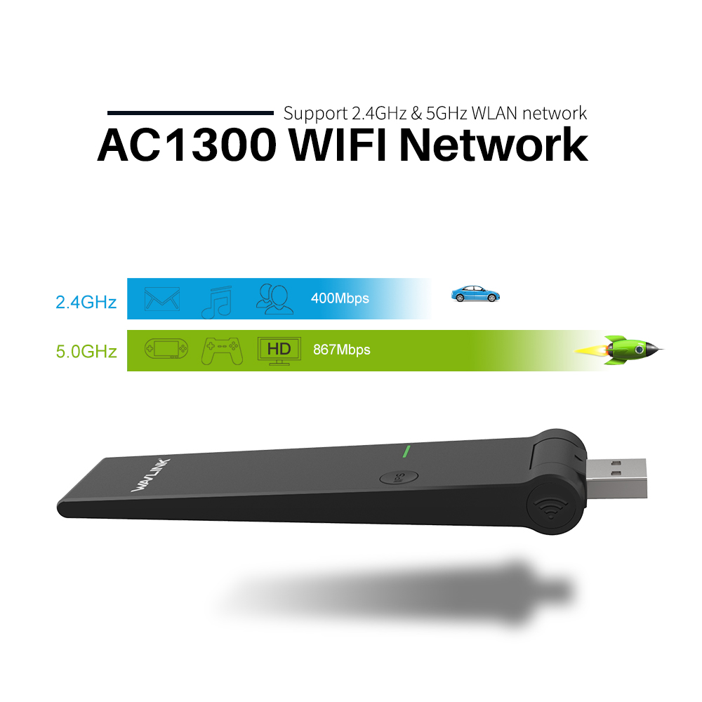 Wavlink Wireless Wifi AC1300 Dual Band USB Adapter 2.4/5GHz External WIFI Dongle 802.11ac/a/b/g/n WPS Support Windows XP/Vista/7