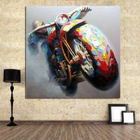 Hand Painted Abstract Knife Riding Bike Oil Painting On Canvas Large Wall Decor Art Pictures Handmade