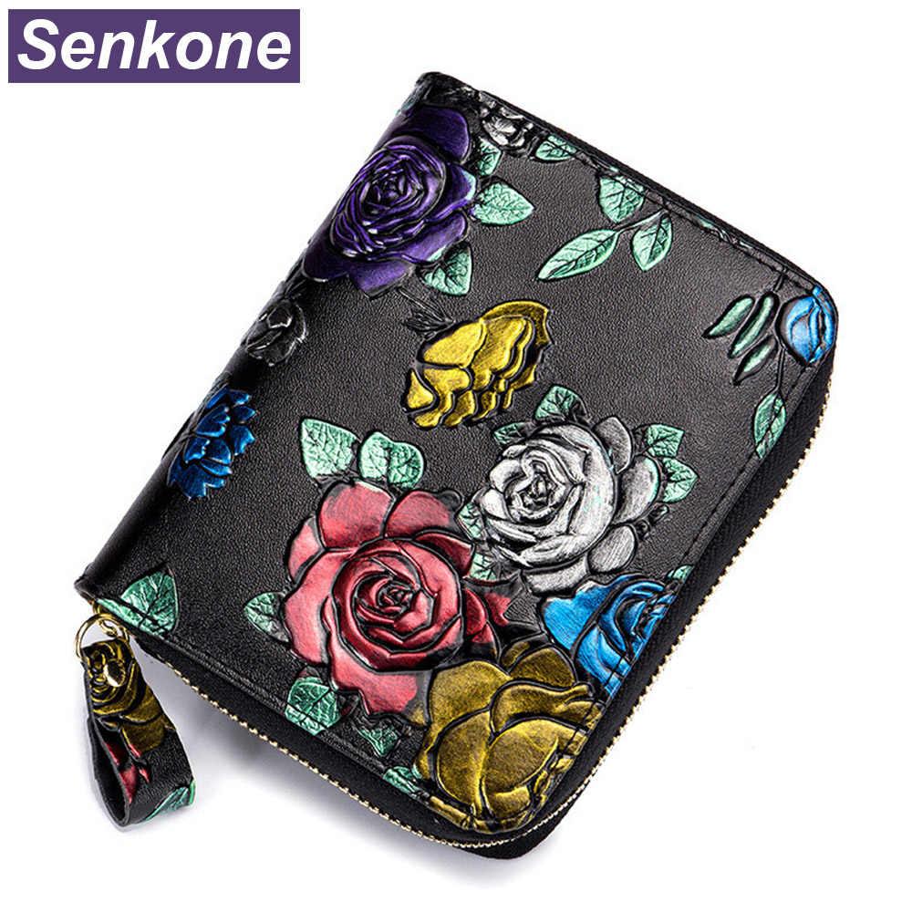 Portefeuilles de Protection Rfid pour femmes en porte-cartes en cuir véritable portefeuille de passeport porte-cartes et porte-cartes