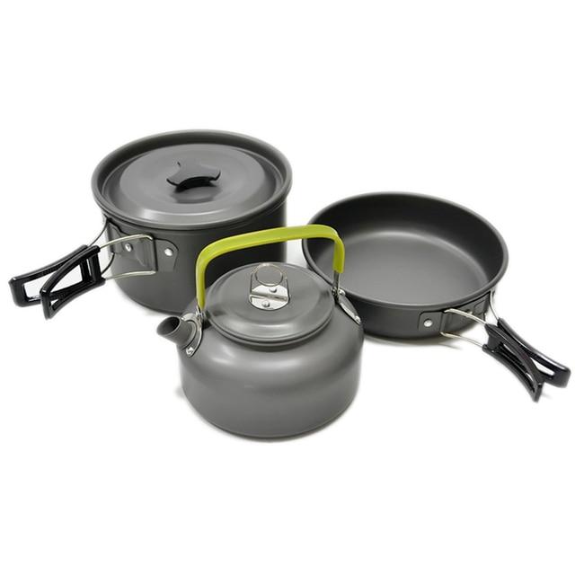 Ultra-light Aluminum Alloy Camping Cookware Utensils Outdoor Cooking Teapot Picnic Tableware Kettle Pot Frying Pan 3pcs/Set 2