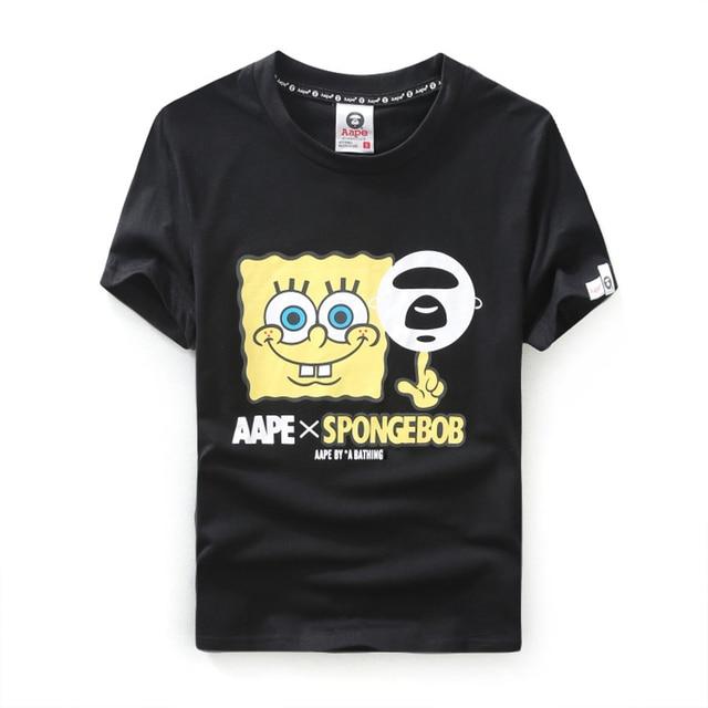 b46e73609f12 Men Shirts Bape Summer Style Anime Brand Basketball T Shirt White Spongebob  Aape Joint Hip Hop Sportswear Casual School Tops New