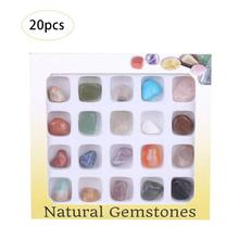20Pcs/Set DIY Gemstone Rock Collection Mix Gems Crystals Natural Mineral Ore Specimens with Box Ornament Home Decor