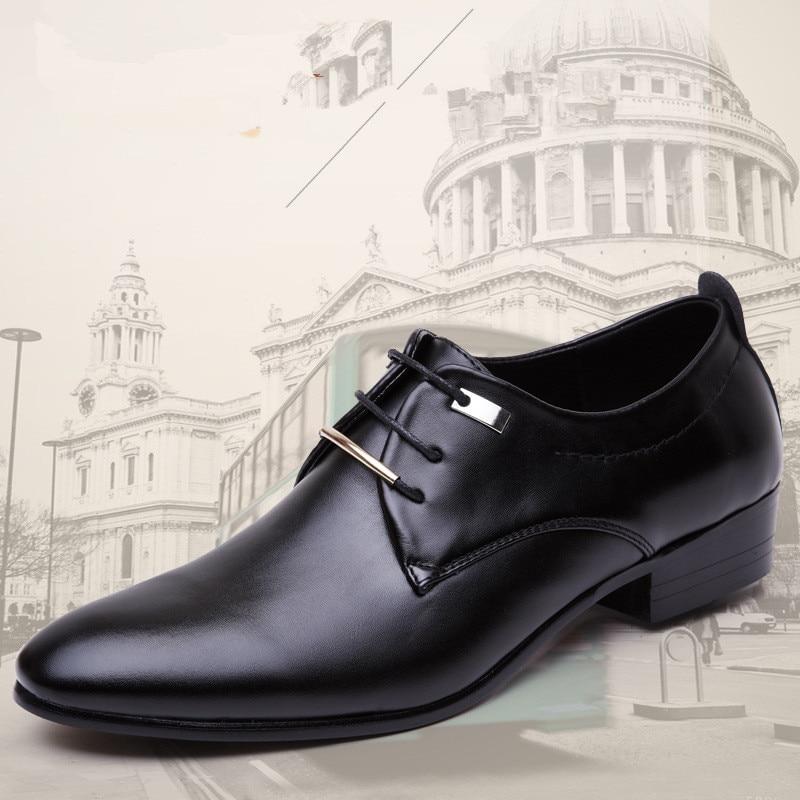 Men's Shoes Formal Shoes Qwedf 2019 New Mature Men Dress Leather Shoes Fashion Men Wedding Dress Shoes Business Comfortable Office Party Shoes Dd-045
