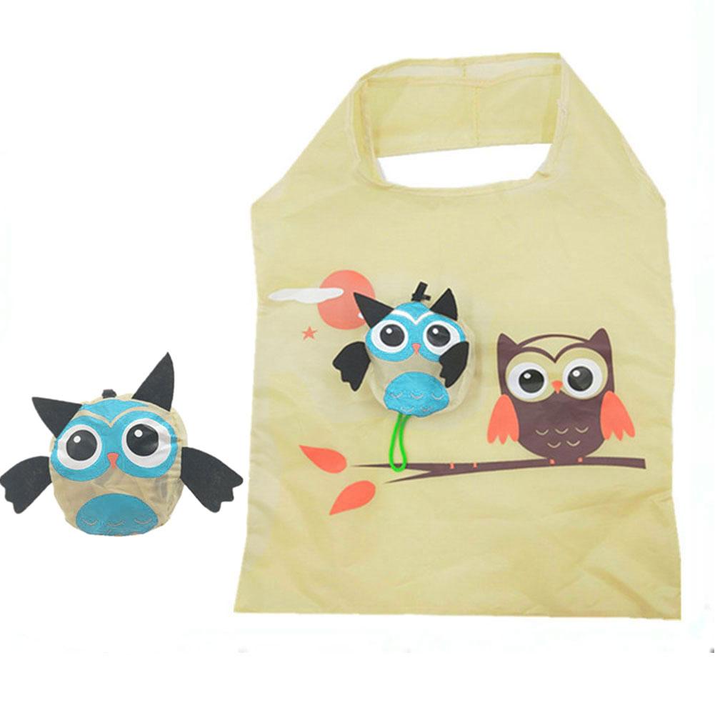 Food Portable Reusable Folding Eco-friendly Shopping Bag Gift Tote Handbag Easy Storage Soft Ladies Cartoon Animal Travel