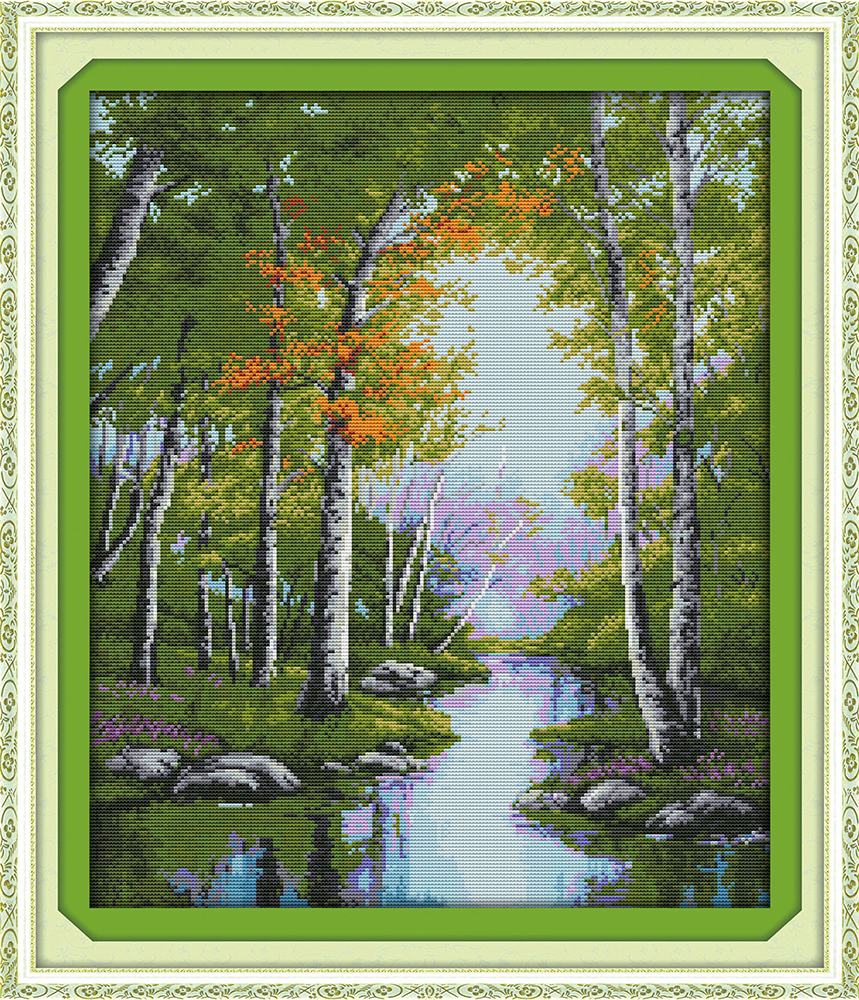The stream autumn cross stitch kit forest river 18ct 14ct 11ct ...
