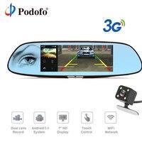 Podofo 3G 7 Dash Cam Car DVR Mirror Android 5 0 GPS Bluetooth Dual Lens WIFI