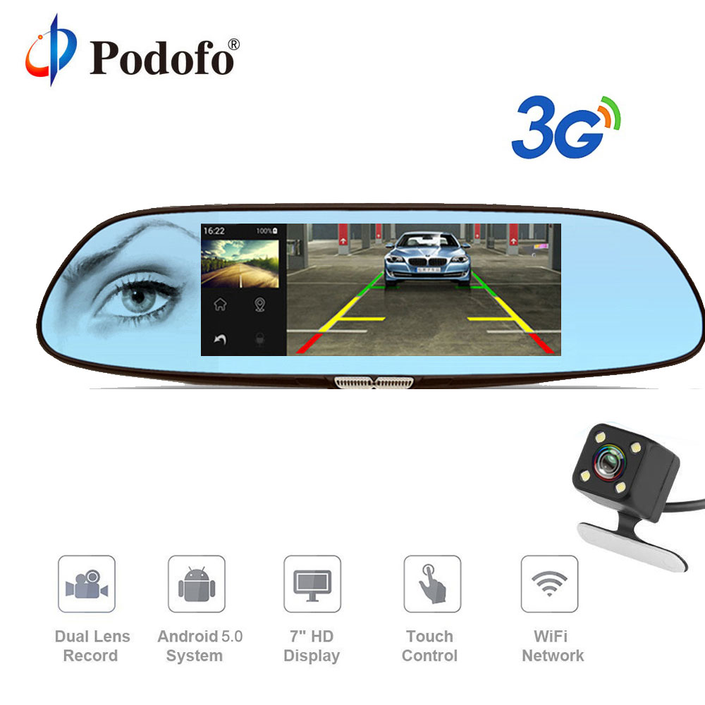 Podofo 3G 7 Dash Cam Car DVR Mirror Android 5.0 GPS Bluetooth Dual Lens WIFI Rearview Mirror Video Recorder Touch Car Dvrs car dvr recorder android gps navigation 7 inch touch screen mp3 mp4 player wifi 3g fm transmitter car video recorder dash cam