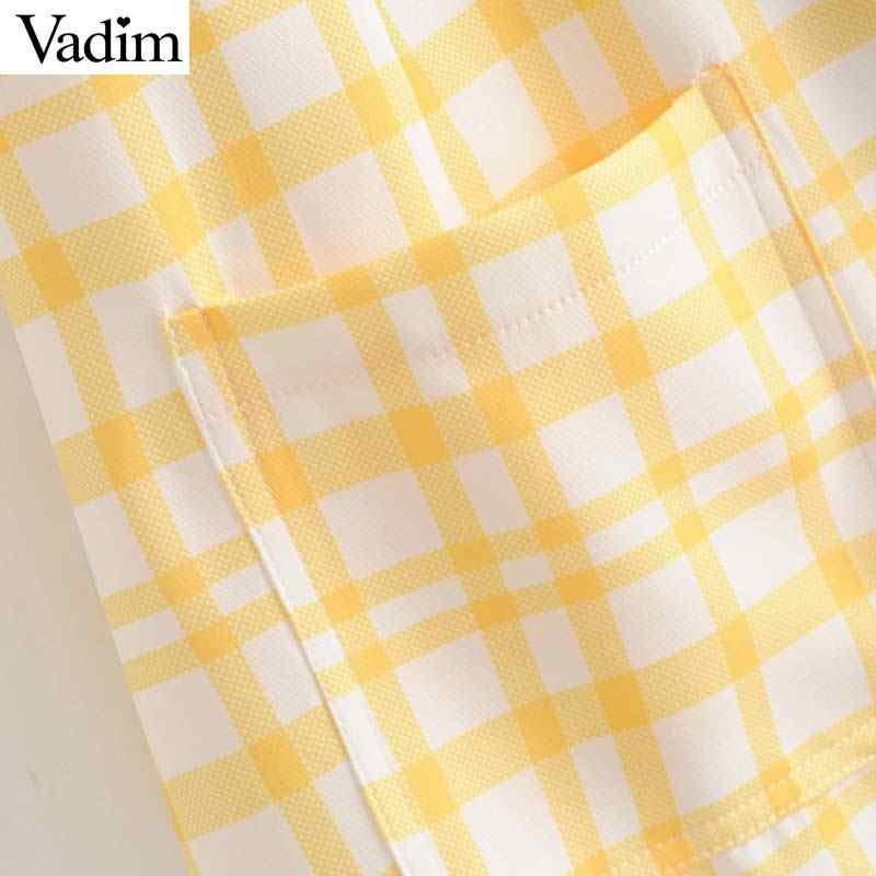Vadim Женская офисная одежда клетчатое платье мини без рукавов пуговицы карманы женские повседневные платья летние шикарные платья QC437