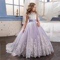 2017 Roxo vestido de Baile de Tule Vestidos Da Menina de Flor Com Arco vestido de Baile Primeira Comunhão Vestido para Meninas Meninas Pageant vestidos