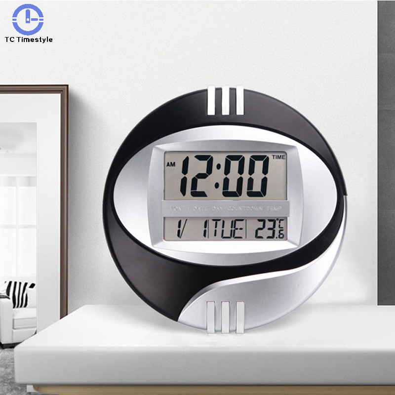 Snooze Led Wall Clock Mute Bracket Electronic Clocks Lcd Calendar Temperature Digital Home Kitchen Office Smart Desktop Large