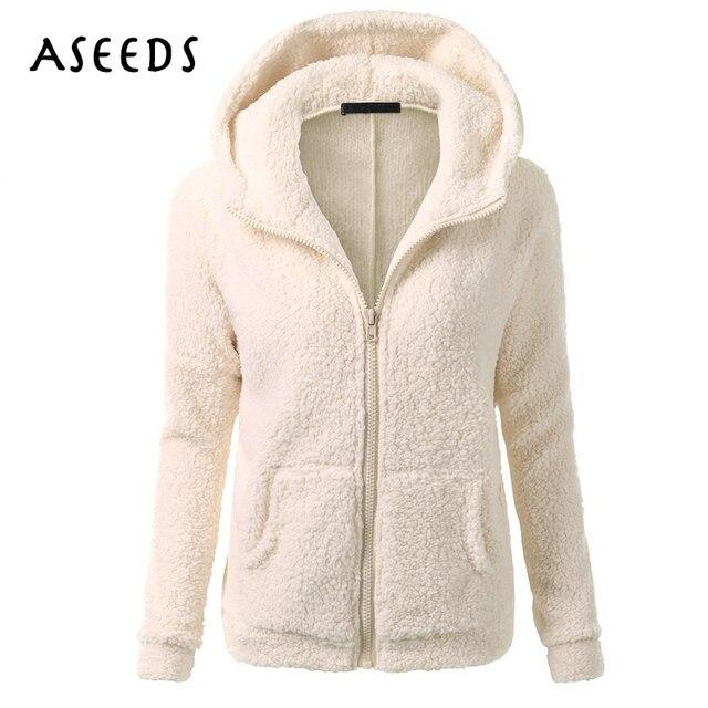 Большие размеры с капюшоном из овечьей шерсти куртка женщин осеннее пальто 2017 г. зимние черные армия молнии теплая верхняя одежда Повседневное длинный рукав женский пиджак
