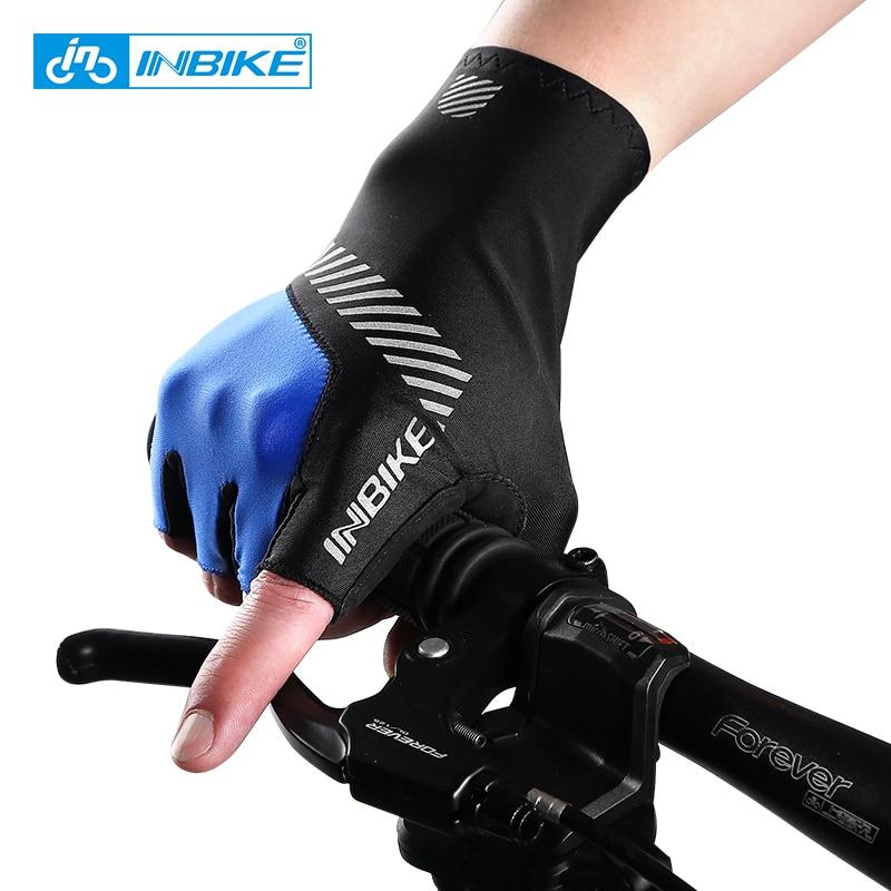 Prix pour INBIKE 2017 Vélo Gants Demi Doigt Hommes Respirant Vélo Gants De Vélo Réfléchissant Anti-Slip Gel Pad RH316
