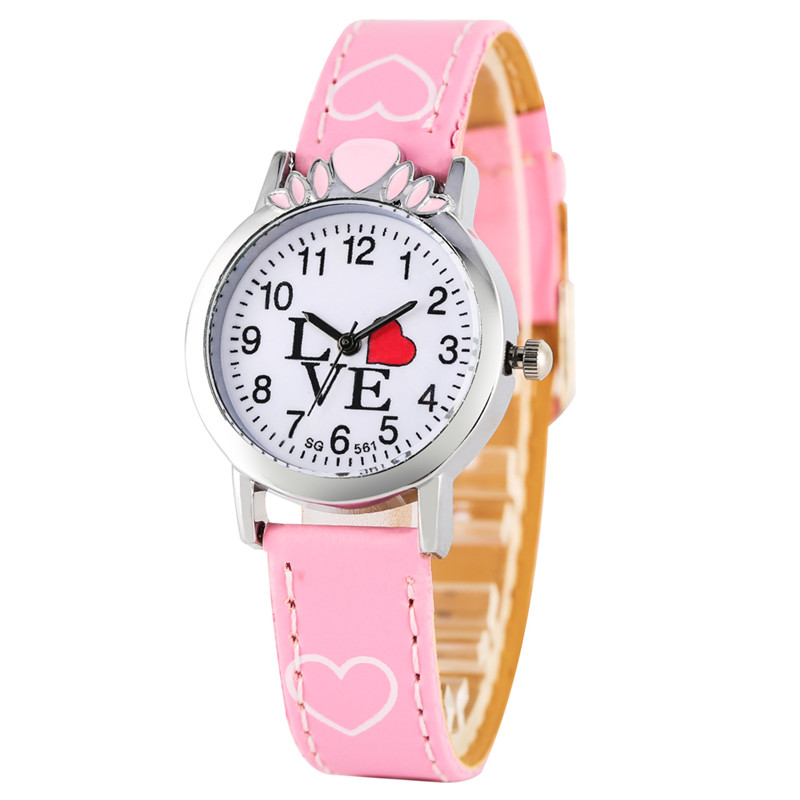 Lovely Cartoon Quartz Watch Movement For Child Endearing Tone Watches Exquisite Small Silver Case Leather Strap Children Watch
