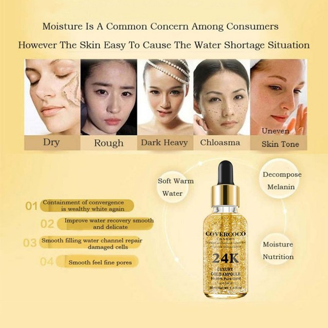 24K Gold Face Serum Firming Moisturizing Face Essence Anti-Wrinkle Anti-Aging Moisturizer Skin Care 2018 Products 2