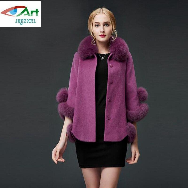D'hiver Fourrure 2018 red purple À Collier E843 Veste Lâche De Jqnzhnl Manteau Femmes Beige Laine Manteaux Nouveau Manches Occasionnel 8wnSzpq