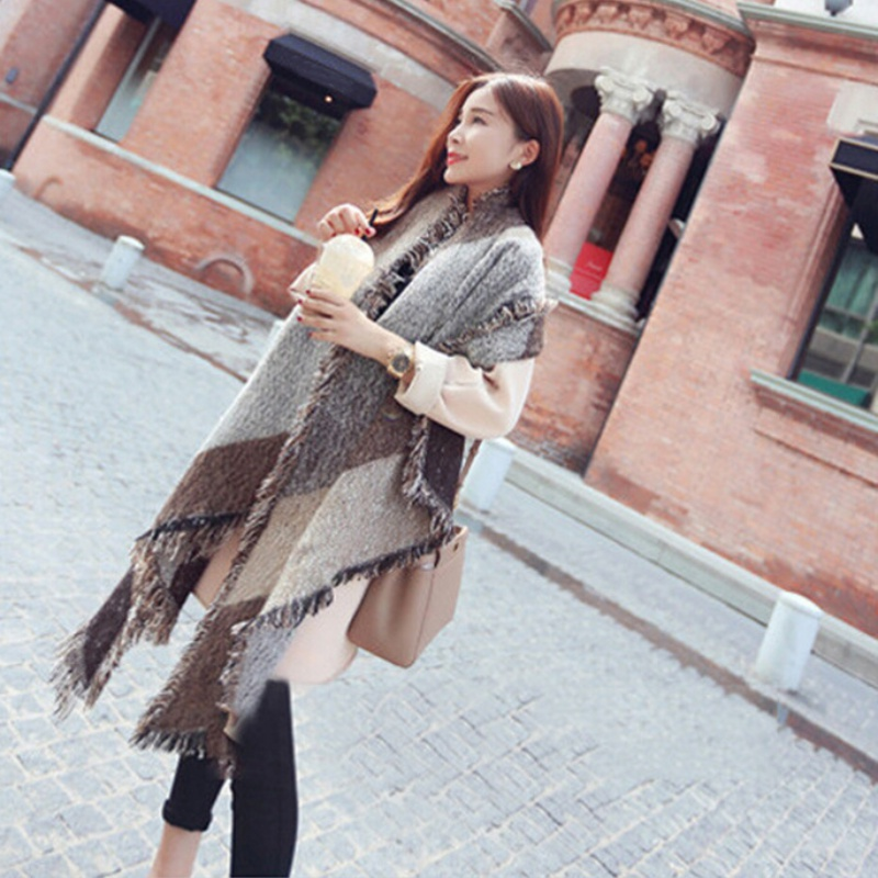 4fcf6df2e2a Fashion Women Winter Thick Warm Wool Pashmina Cashmere Stole Scarves Scarf  Shawl Wraps-in Scarves from Women s Clothing   Accessories on  Aliexpress.com ...
