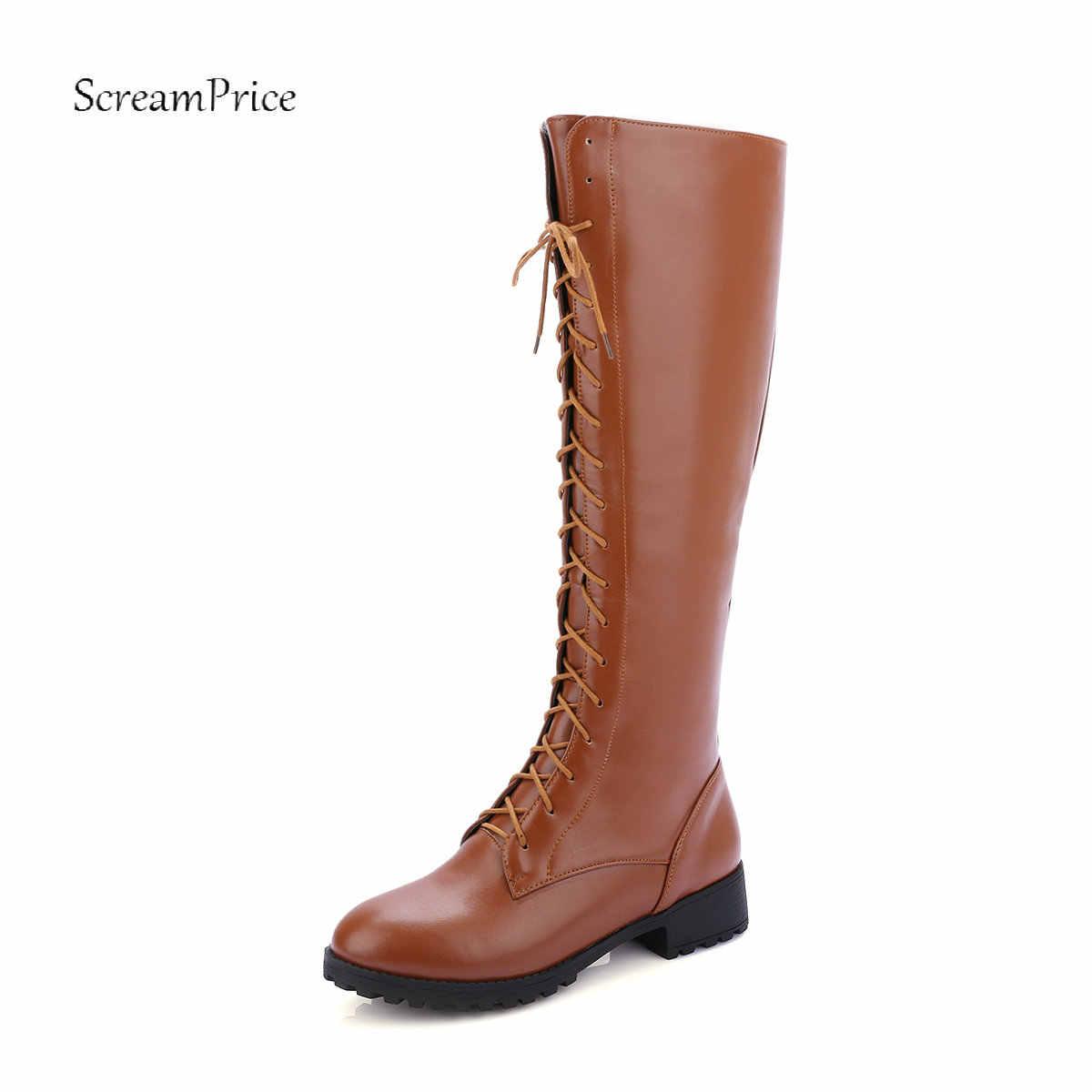 Ví nữ Da PU Giày Bốt Martin Dày Gót Thấp Đầu Gối Giày Cao Nền Tảng Dây Kéo Mùa Đông Thoải Mái Thời Trang Nữ Giày Nữ Giày 2018