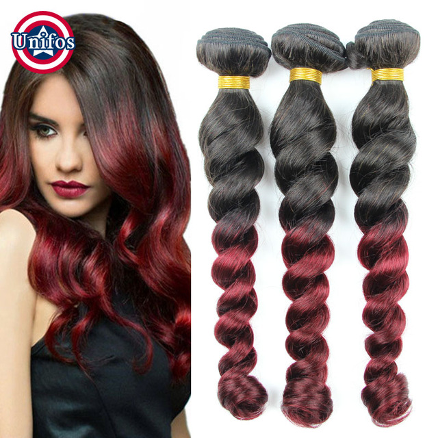 Ombre Hair Extensions Peruvian Loose Wave 3pcs Lot 1b Burgundy Ombre
