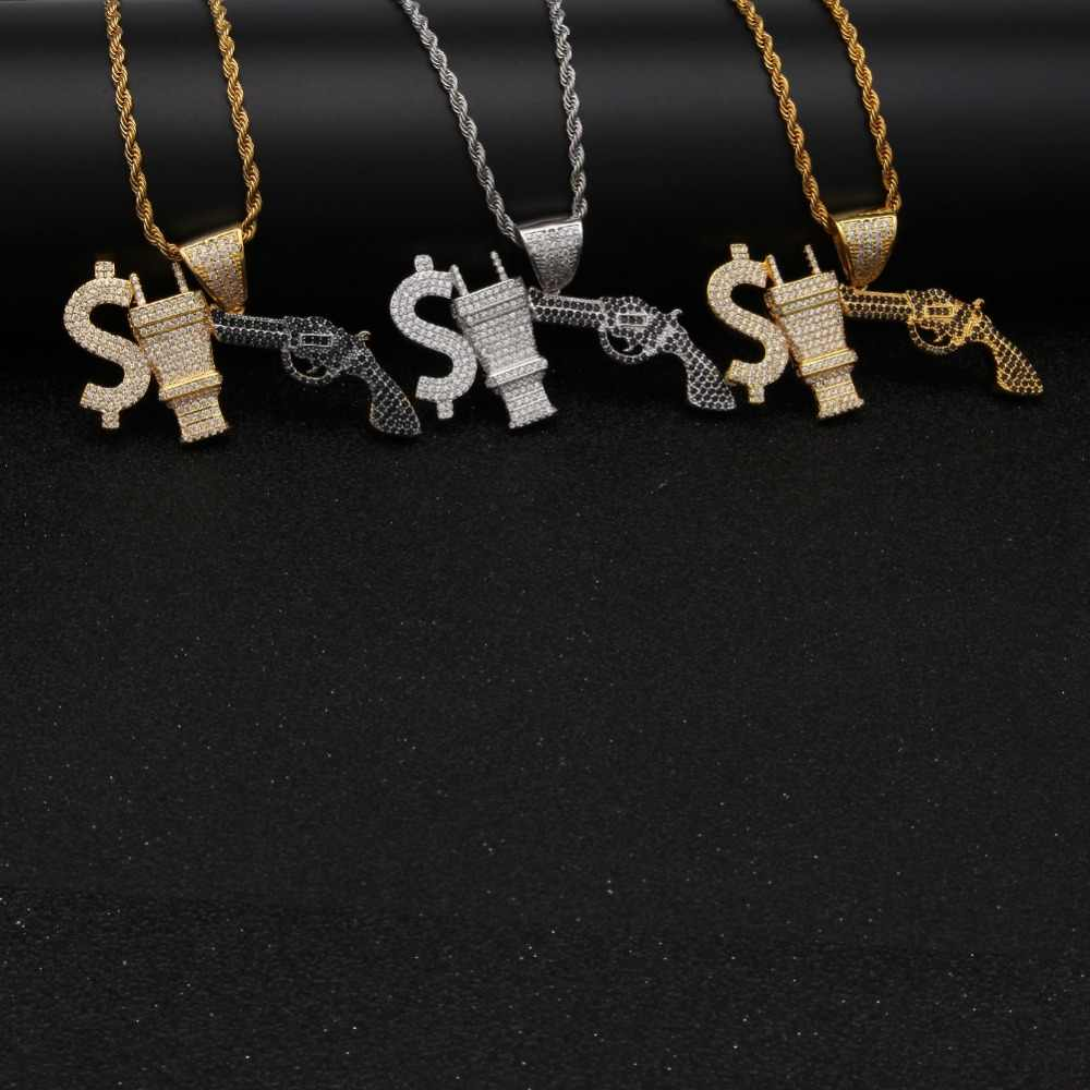 Uwin Hiphop Đồng Đô La MỸ Cắm Với Gun Vòng Cổ Đầy Đá Trắng/Đen Cubic Zirconia Vàng Màu Chain & Mặt Dây Chuyền punk Mens Đồ Trang Sức
