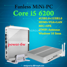 [6Gen Intel Core i5 6200U] 3 Years Warranty Eglobal Win10 Mini PC Fanless Desktop 4K HTPC Intel HD Graphics 520 HTPC TV Box