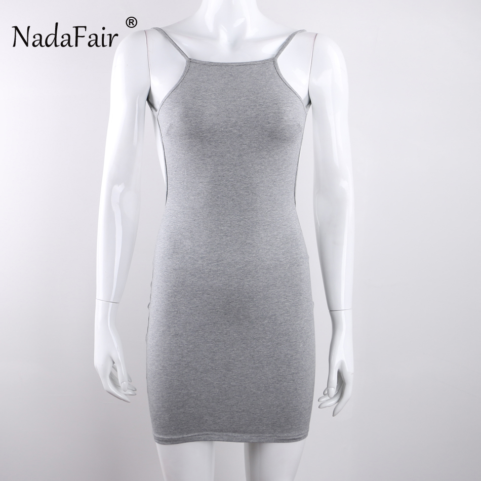 Nadafair 95% Cotton Spaghetti Strap Black Sexy Club Backless Bodycon Dress Women Summer Beach Casual Mini Dress 4