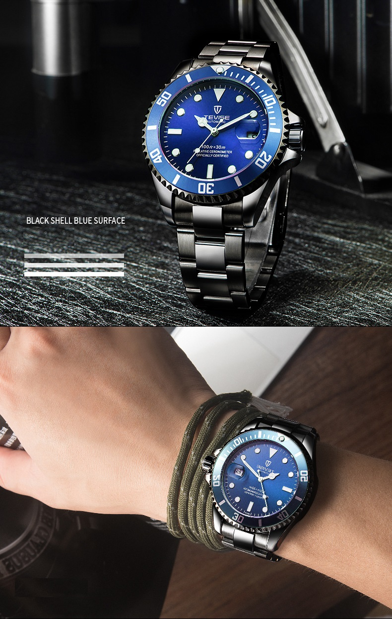 1TEVISE Red Watch Men Creative Luminous Watches Date Waterproof Clock Man Blue Automatic Watch Purple Mechanical Wristwatches (5)