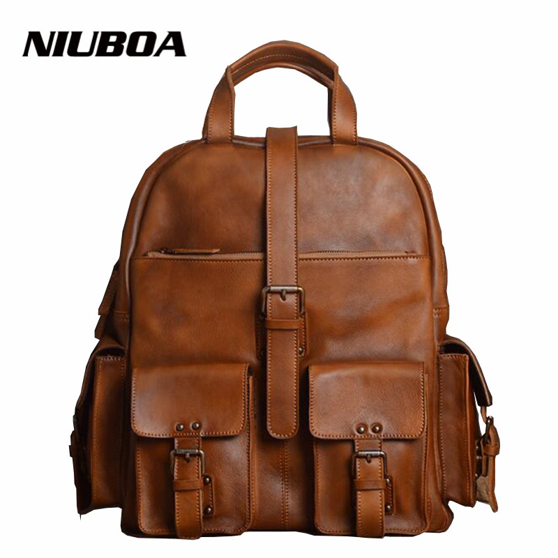 все цены на NIUBOA Backpack Genuine Leather Men's Backpack Vintage Unisex Natural Leather 15