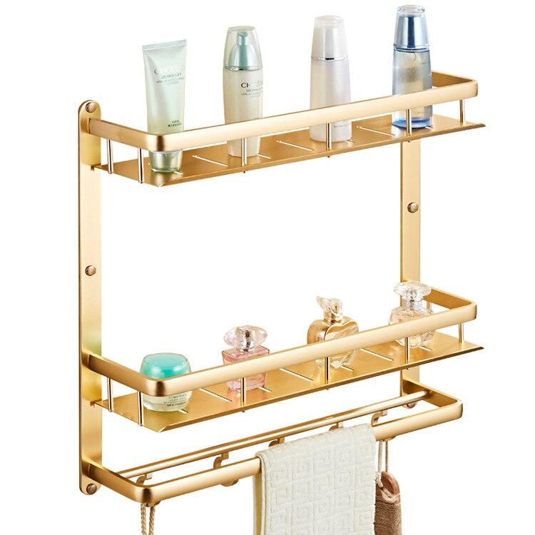 Style européen antique or double salle de bains espace d'aluminium de stockage monté en rack mur