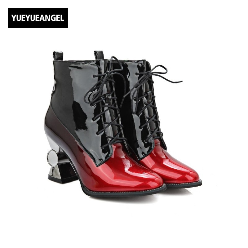 New Fashion Women Shoes Shiny Patent Leather Lace Up Pointed Toe For Women Ankle Boots Strange Style Sexy Punk Shoes Black Pink new style black triangle metal decoration fashion style pointed toe lace up men party nightclub men leather leisure shoes macho