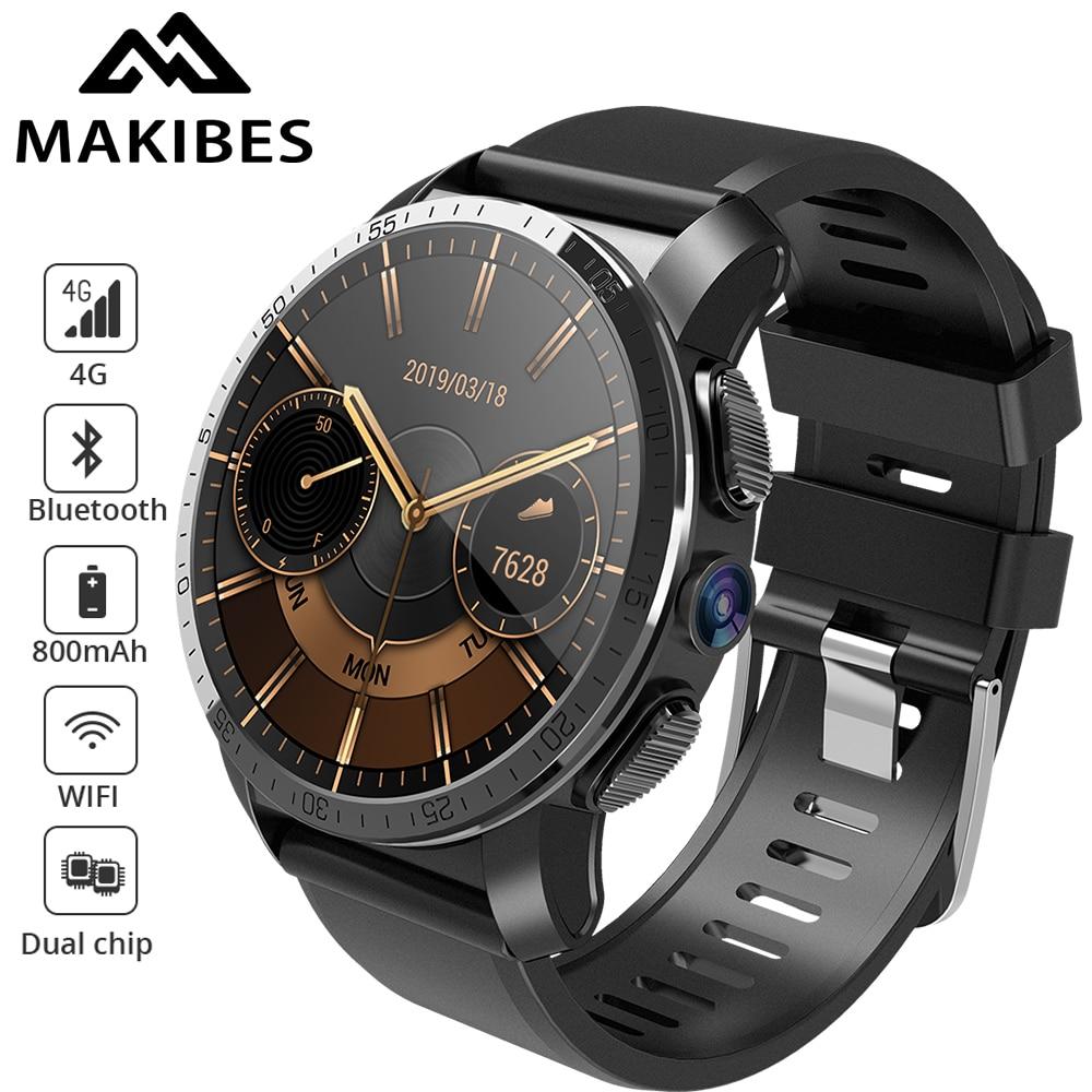 Makibes M3 4G MT6739 + NRF52840 Dual chip impermeable reloj inteligente teléfono Android 7,1 8MP Cámara GPS 800 mAh respuesta de llamada SIM TF tarjeta
