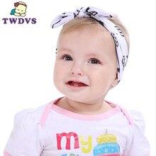 1PC Cute Flower Elastic Headband Kids Hair Bows Knot Band Rabbit Ears Headwear Girls Hair Cotton Hats Hair Accessories KT038