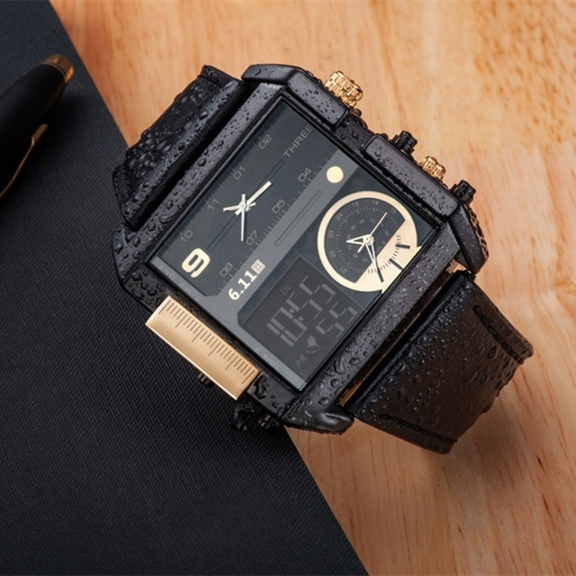 6.11 Square Men Watch Multiple Time Zone Quartz Watches Mens Leather Led Wristwa