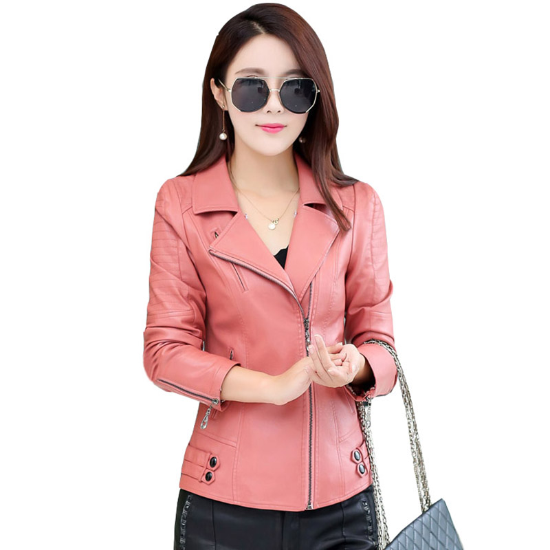 pink Black 2017 New Elegant Autumn Winter   Leather   Jackets Women's Short PU   Leather   slim Coats Ladies Motorcycle Outwear QH0852