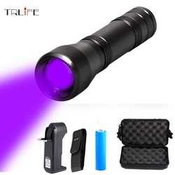 Светодио дный УФ фонарик УФ L2/T6 белый свет светодио дный Torch Light 5 Режим Масштабируемые 395nm ультрафиолетовый свет Blacklight 18650 Батарея